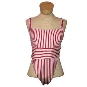 Forever 21 Red Striped High Cut One Piece Bikini L